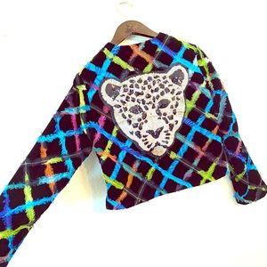 Chico's velour Jacket upcycled w/sequin jaguar 😍